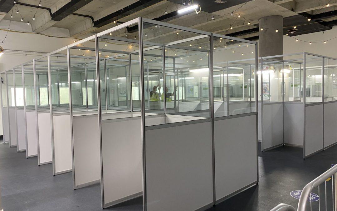 Social distancing cubicles get Lendlease Triton Square Construction Site Welfare Facilities Open
